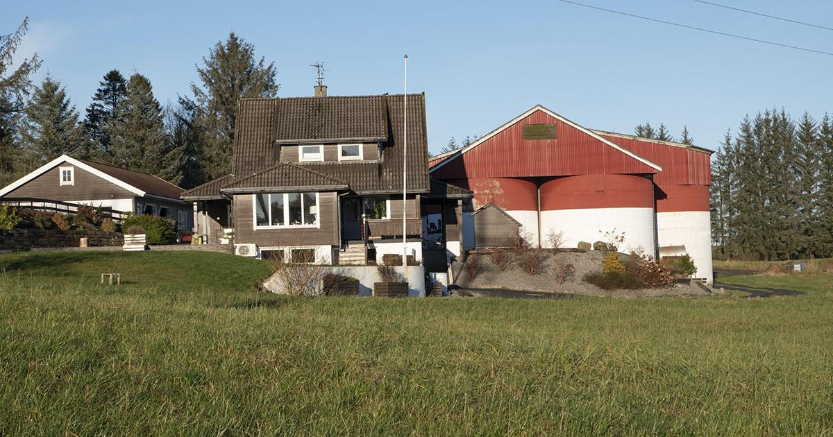 Bilde av gården. Fra venstre: garasje, bolig, fjøs.