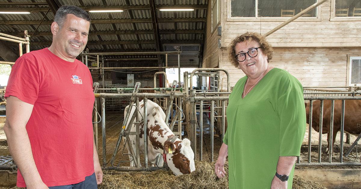Bilde av bonde og styremedlem i Tine., Asgeir Pollestad, sammen med Landbruks- og matminister Olaug Bollestad. De er inne i fjøset til A. Pollestad.
